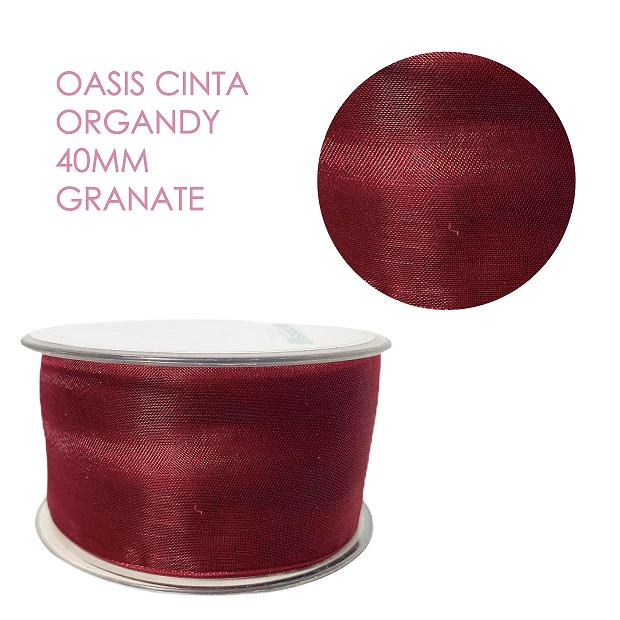 Oasis Cinta Organdy 40mm Granate