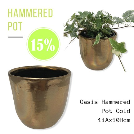 OASIS  Hammered Pot Gold 11x10 cm