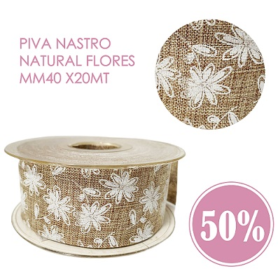 Piva Nastro Natural flores MM40 x20Mt