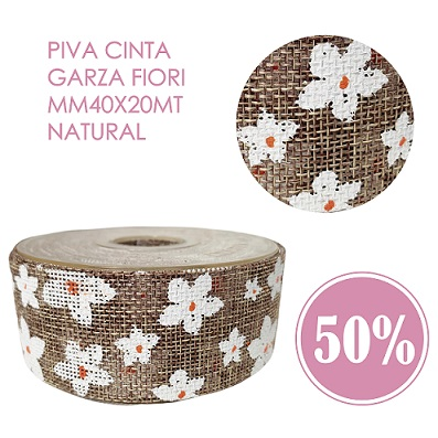Piva Cinta Garza Fiori MM40X20MT NATURAL